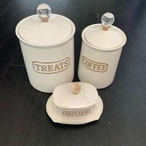 Canister for treat and coffee dishes for butter